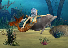 Mermaid and Dolphin. 3D digital render of a cute mermaid and dolphin on blue fantasy ocean background Royalty Free Stock Photo