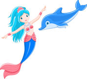 Mermaid and dolphin Royalty Free Stock Photography
