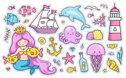 Set of cartoon stickers, patches, badges, pins, prints for kids. Mermaid and dolphin, sailing ship, jellyfish, octopus, sea shell, lighthouse, anchor and vector illustration