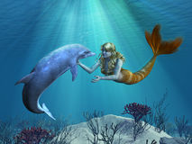 Mermaid with Dolphin Undersea. A friendly dolphon greets a mermaid undersea - 3D render with digital painting Stock Photography