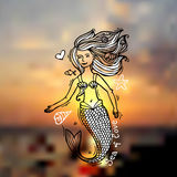 Mermaid doodle style Royalty Free Stock Photography