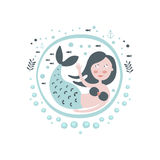Mermaid Fairy Tale Character Girly Sticker In Round Frame Stock Photography