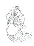 Mermaid fairy-tale character. Vector illustration  on white background Stock Photos