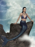 Mermaid. Fantasy landscape with mermaid in the ocean Stock Image