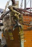Mermaid figurehead on old sail ship Royalty Free Stock Photos