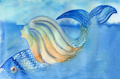 Mermaid and fish diving down abstract watercolor painting. Mermaid diving under the water with fish Stock Image