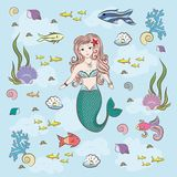 Mermaid and fish fry, stones and seaweed Royalty Free Stock Photography