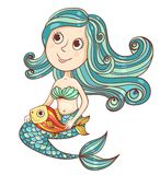 Mermaid with fish isolated on white. Vector cartoon illustration Stock Photo