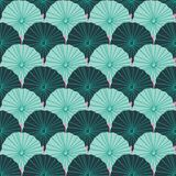 Mermaid or fish scale lotus leaves design in a colorful green and pink modern tropical style. Seamless vector repeat pattern. Ideal for home decor, wallpaper vector illustration