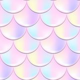 Mermaid fish scale seamless pattern with holographic effect. Iridescent mermaid background. Pastel pink pattern. Mermaid or fish scale seamless pattern with vector illustration