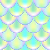Mermaid fish scale seamless pattern with holographic effect. Iridescent mermaid background. Violet green pattern. Mermaid or fish scale seamless pattern with stock illustration