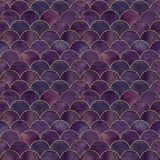 Mermaid fish scale wave japanese seamless pattern. Mermaid fish scale wave japanese luxury seamless pattern. Watercolor hand drawn dark purple pink background Royalty Free Stock Photography
