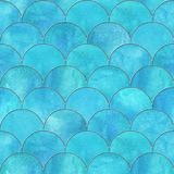 Mermaid fish scale wave japanese seamless pattern. Mermaid fish scale wave japanese luxury seamless pattern. Watercolor hand drawn light teal blue background Royalty Free Stock Photos