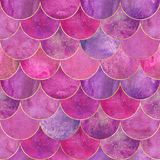 Mermaid fish scale wave japanese seamless pattern