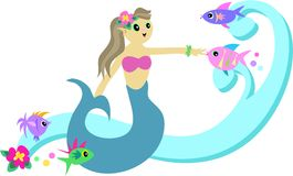 Mermaid with Fish and Wave Stock Photography
