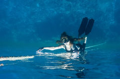 Mermaid. free diving girl. Royalty Free Stock Photos