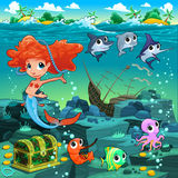 Mermaid with funny animals on the sea floor. Cartoon vector illustration Royalty Free Stock Photography