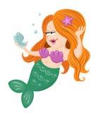 Mermaid girl holding mirror Stock Image