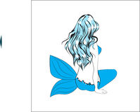 Mermaid girl. The girl the mermaid, with long blue hair, sits and longs Royalty Free Stock Photos