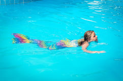 Mermaid girl swimming in the pool Stock Image