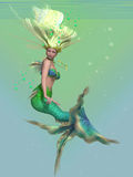 Mermaid in Green Stock Photo