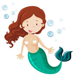 Mermaid with green fin. Illustration Royalty Free Stock Photos
