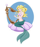 Mermaid and harp Stock Photography