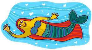 Mermaid with heart in her hand. Floating mermaid with orange hair and green tail holding a heart in his hand Royalty Free Stock Photo