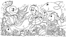Mermaid and her friends Stock Images