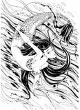 mermaid Het verhaal is een mythe Onderwater wereld Vissen grafiek Vector stock illustratie