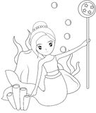 Mermaid holding a wand coloring page Royalty Free Stock Image