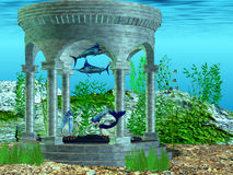 Mermaid Home. Two mermaids make their home in a structure under the ocean Stock Photography