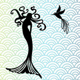 Mermaid and hummingbird. With wave pattern behind Royalty Free Stock Photos