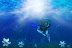 Mermaid i undervattens- värld royaltyfri illustrationer