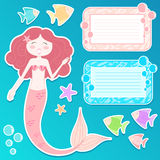 Mermaid icon set. Set of a mermaid, text frames and other sea related elements for design Stock Photo