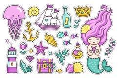 Mermaid, jellyfish, cute sea animals. Set of cartoon stickers for kids. Mermaid, jellyfish, cute sea animals, lighthouse, anchor, starfish and treasure chest vector illustration