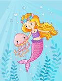 Mermaid with a jellyfish under water. Vector illustration of a cartoon style on a children`s theme. Picture with the sea Royalty Free Stock Photo