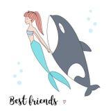 Mermaid and killer whale vector illustration. Best friends vector illustration