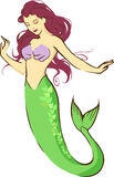 Mermaid lady. Cartoon flat illustration of a beautiful sea mermaid lady with green fish fin Stock Photography
