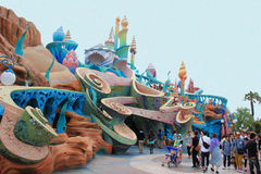 Mermaid Lagoon at Tokyo DisneySea. Tokyo, Japan - May 29, 2013: Scenery of Mermaid Lagoon, made to look like the Palace of King Triton and featured fanciful Royalty Free Stock Photo