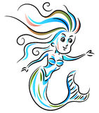 Mermaid. Line art mermaid colorful illustration Stock Images