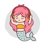 Mermaid listening to music with eyes closed. royalty free illustration