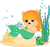 Mermaid with little fish Royalty Free Stock Image