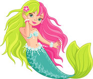 Mermaid. Little mermaid girl on a white background royalty free illustration
