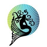Mermaid. Lone mermaid over color wheel background pattern Stock Photo