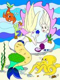 Mermaid looks in the mirror color book for children cartoon vector illustration. Underwater world, octopus, fairy tale, fish, princess friends, mirror Stock Photo