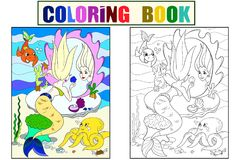 Mermaid looks in the mirror coloring book for children cartoon vector illustration. Color, Black and white. Mermaid looks in the mirror coloring book for Stock Photography
