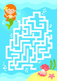 Mermaid maze game. Maze game. Help mermaid find the pearl Royalty Free Stock Image
