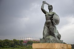 Mermaid Monument - siren by Vistula river in Warsaw, Poland, Europe stock photography