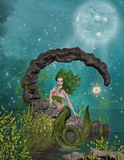 Mermaid in the moonlight. Illustration of mermaid in the moonlight Royalty Free Stock Images